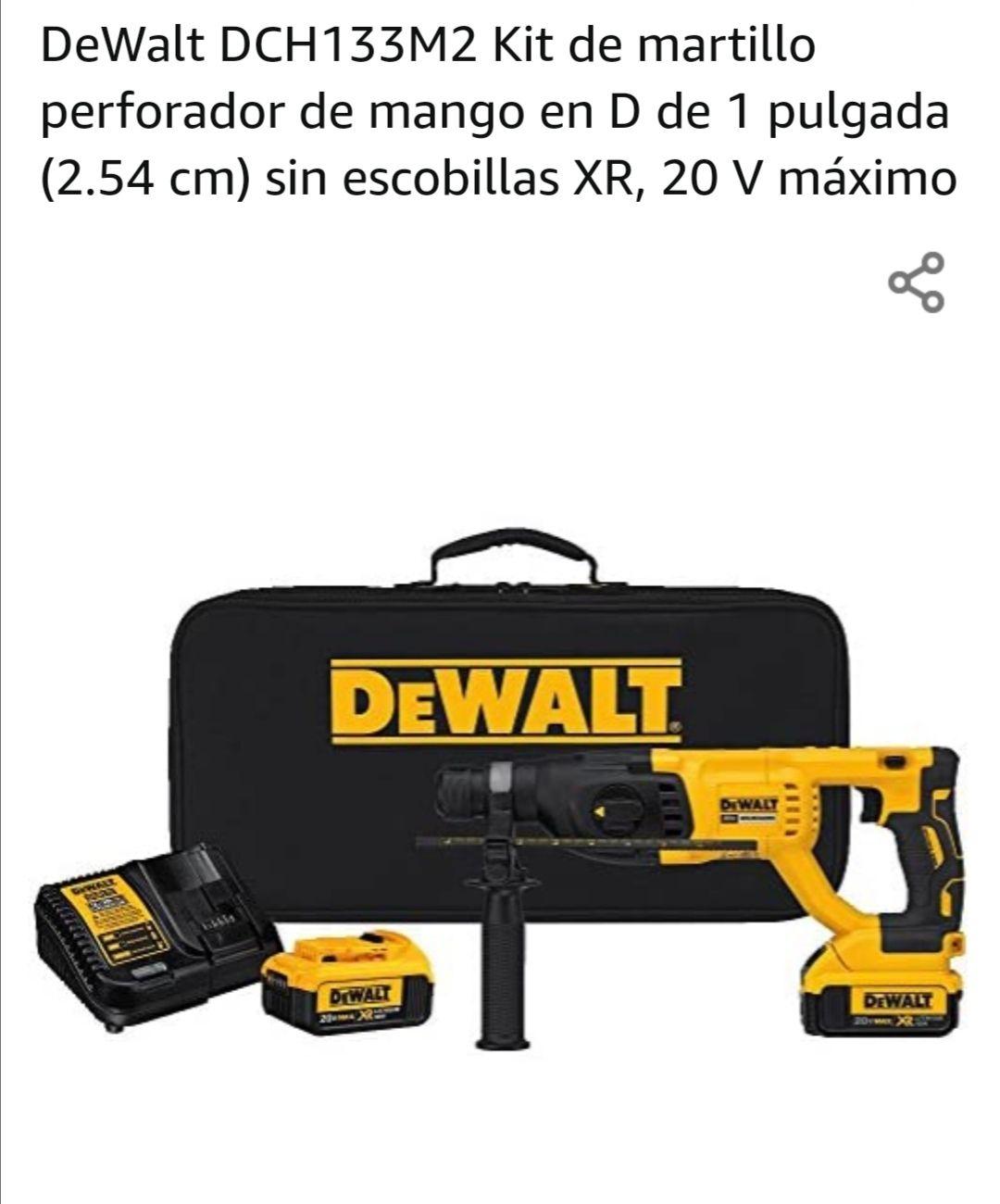 Amazon: DeWalt DCH133M2 Kit de martillo perforador de mango en D de 1 pulgada (2.54 cm) sin escobillas XR, 20 V máximo