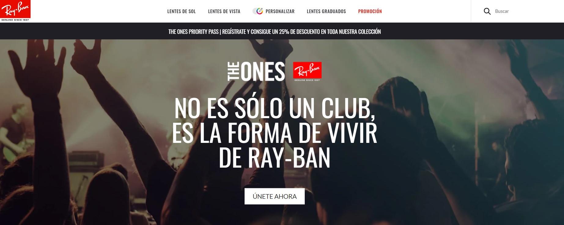 Ray-Ban 25% de descuento al registrarse en The Ones (Tienda digital y física)