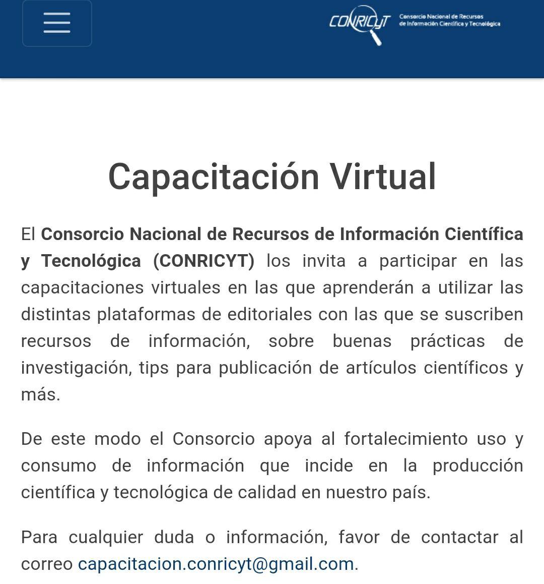 Capacitación Virtual CONRICYT