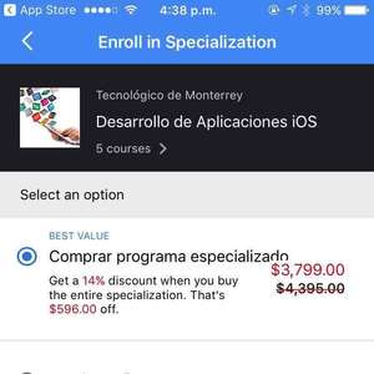 Coursera: ITESM Desarrollo de aplicaciones iOS.