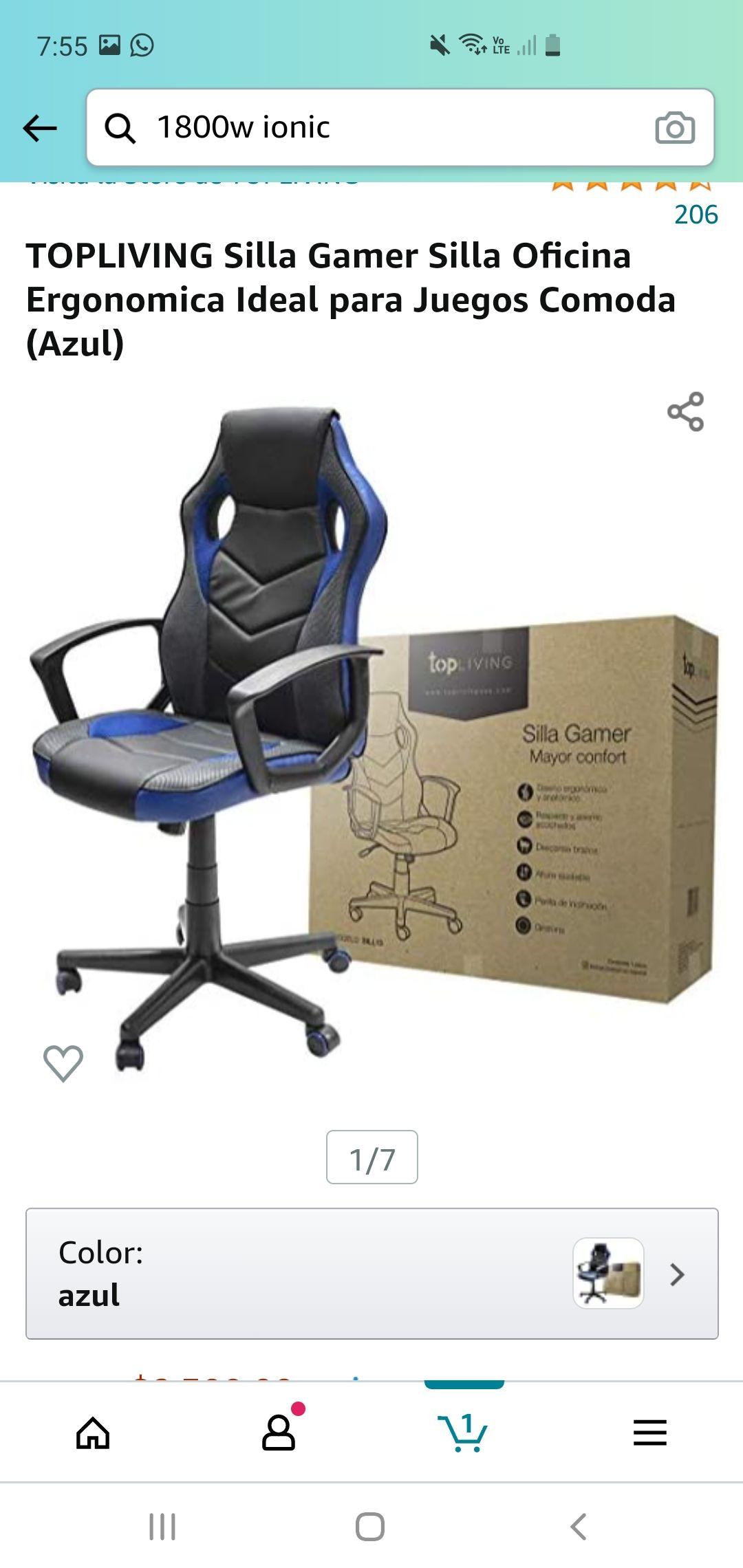Amazon: TOPLIVING Silla Gamer Silla Oficina Ergonomica Ideal para Juegos Comoda (Azul)