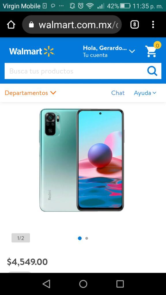 Walmart: Xiaomi redmi Note 10 verde 4/128