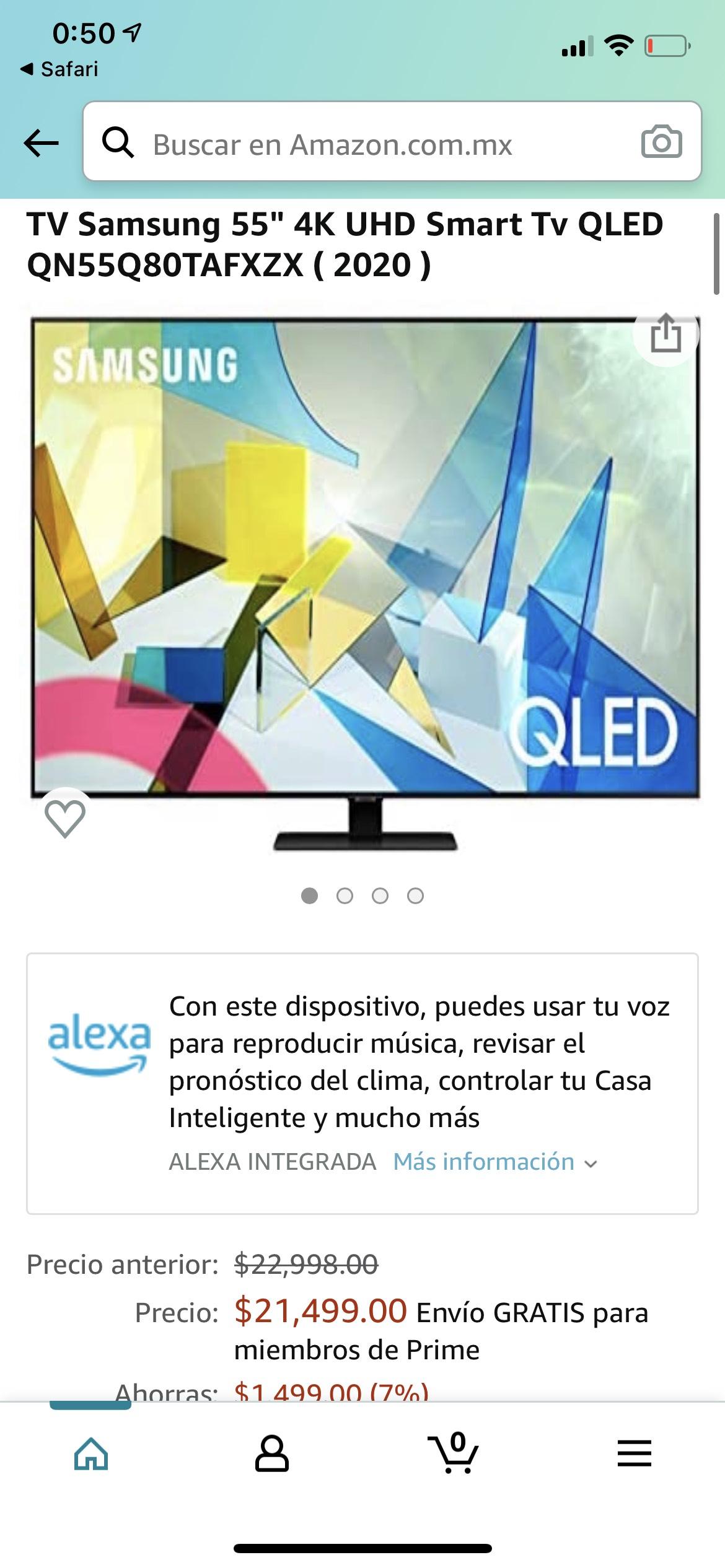"Amazon: Samsung QLED 55"" Q80T (2020) y MAS MODELOS (2020)"
