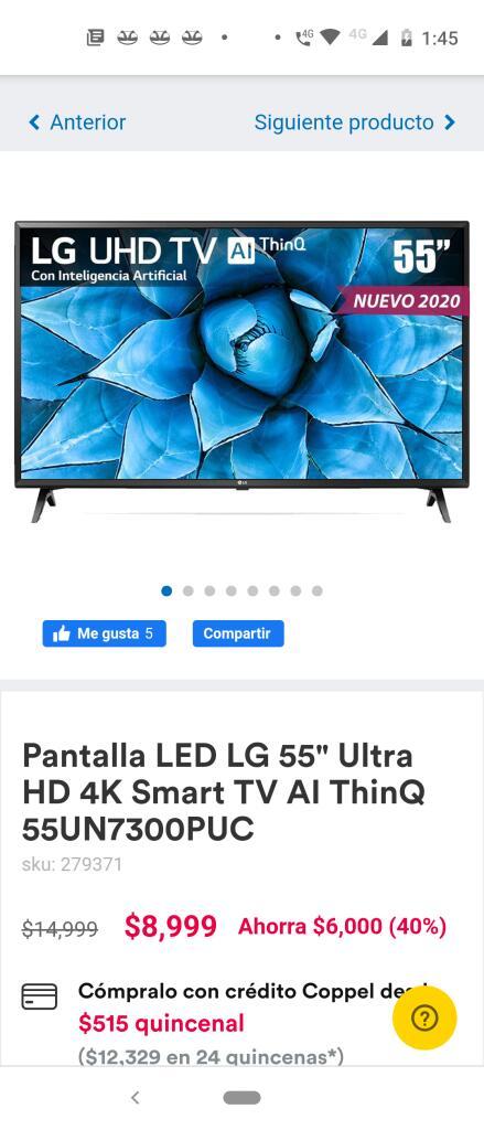 """Coppel Pantalla LED LG 55"""" Ultra HD 4K Smart TV AI ThinQ 55UN7300PUC + 1000 en monedero electrónico"""