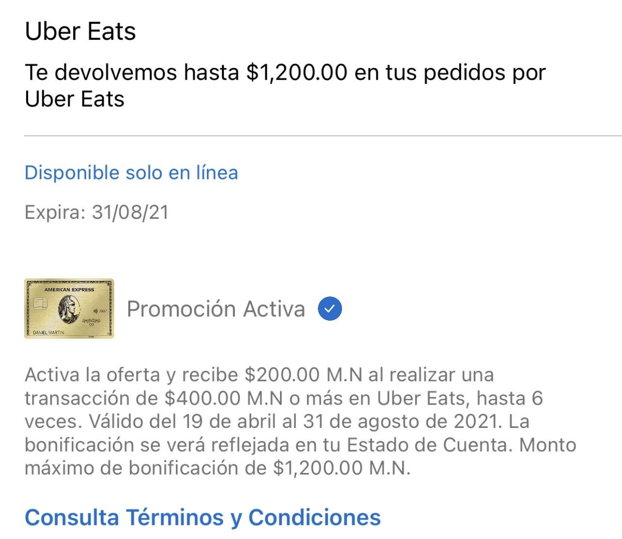 American Express: gasta en UberEats 400 o más y te reembolsan 200 hasta 6 veces
