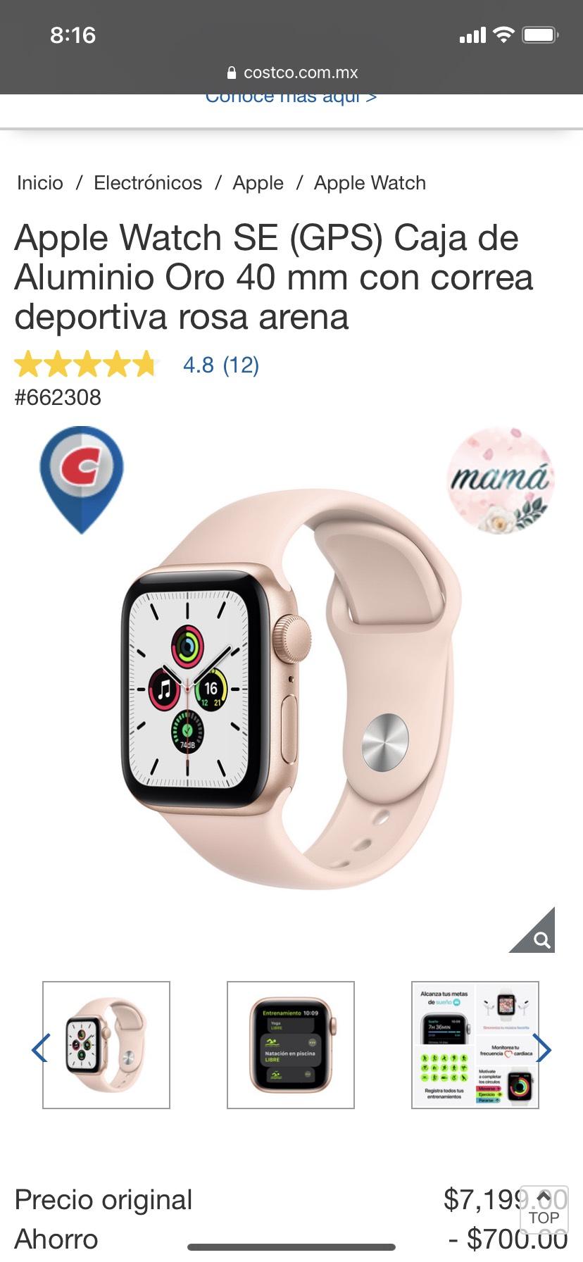 Costco: Apple watch SE de 40 mm rosa arena