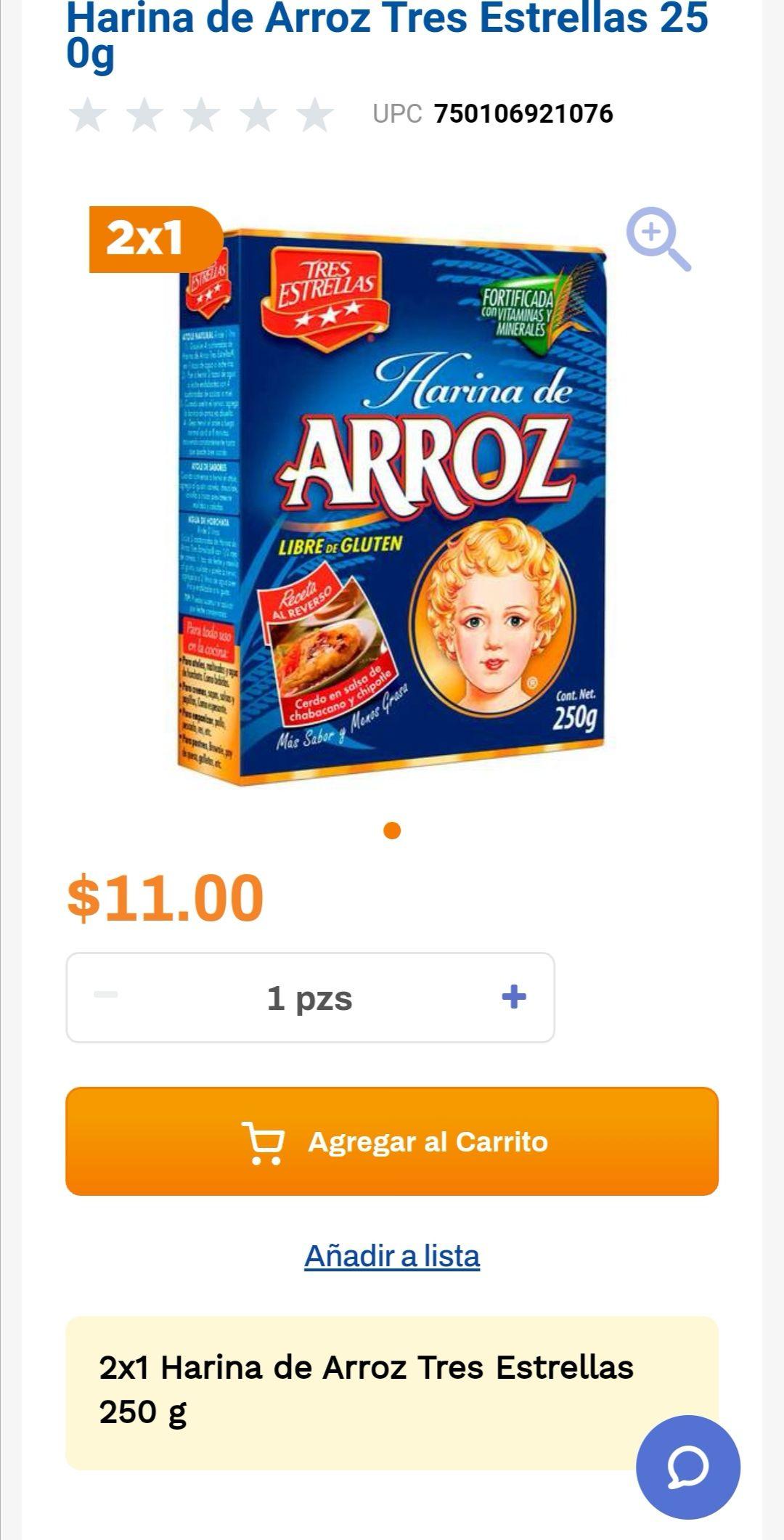 Chedraui: 2 x 1 en harina de arroz Tres Estrellas 250 g (2 x $11)