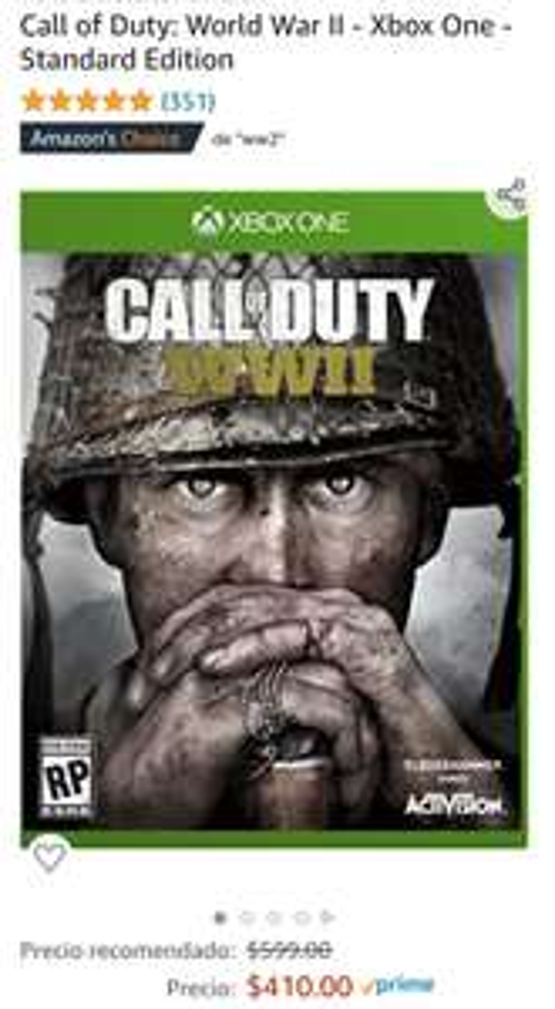 Amazon: Call Of Duty WW2 Xbox One y PS4