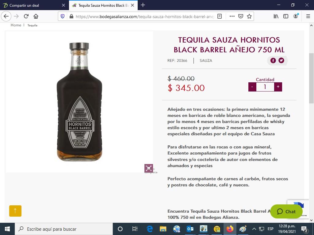 Bodegas Alianza Tequila Hornitos Black Barrel