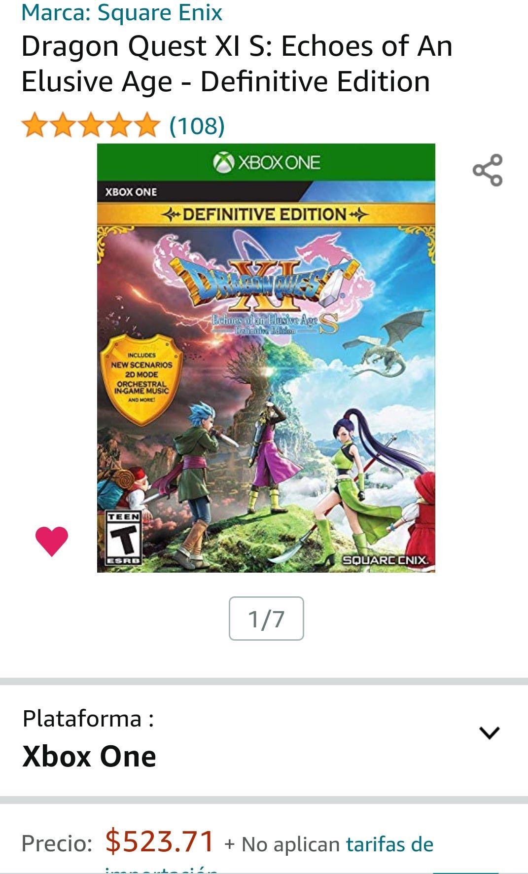 Amazon: Dragon Quest Xi EDICIÓN Definitiva Xbox One