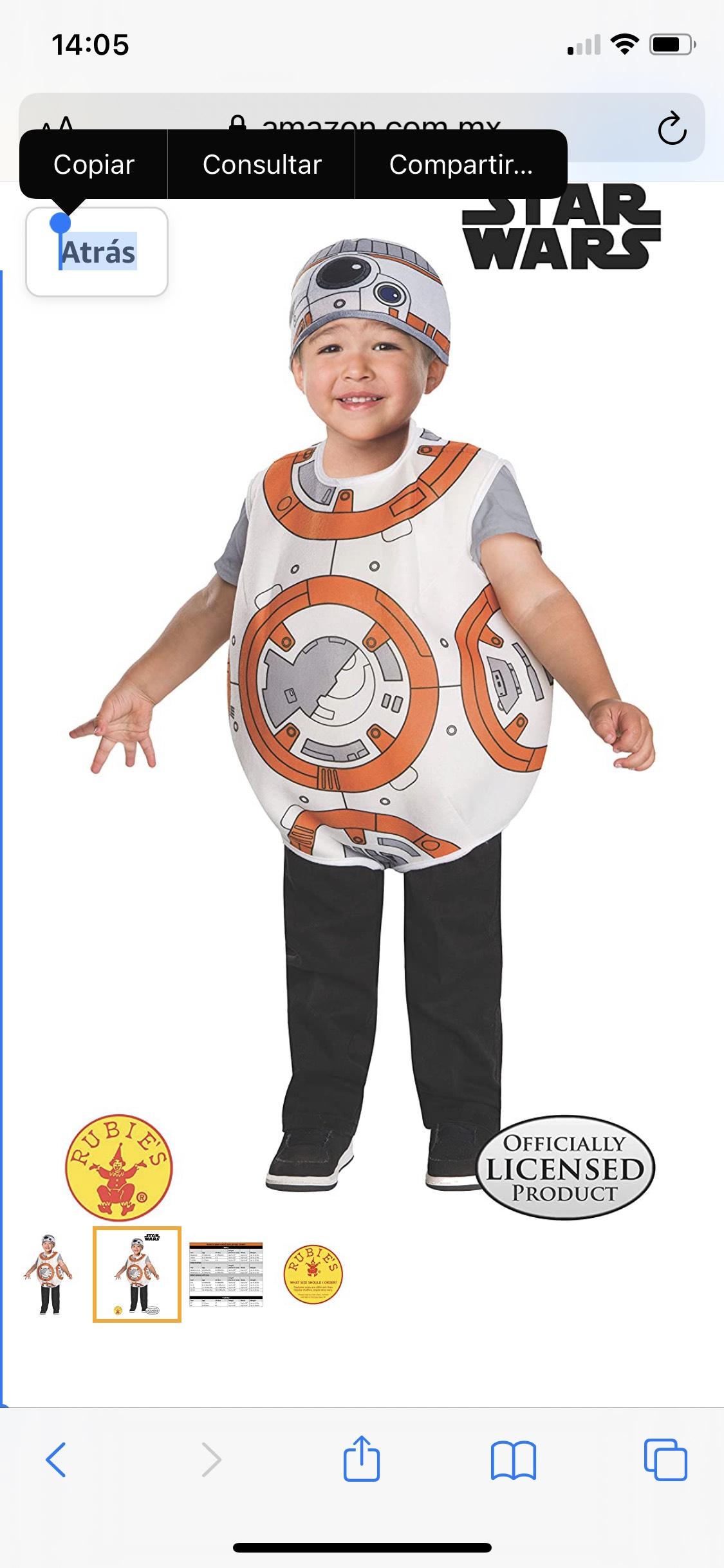 Amazon: Disfraz de BB8 de Star Wars. Para sus Bebochos de alrededor de 2 años