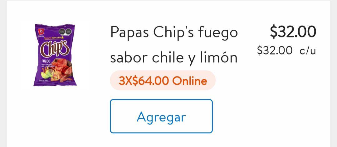 Walmart: PAPAS CHIPS VARIEDAD DE SABORES 160G 3*64 SÓLO EN LÍNEA