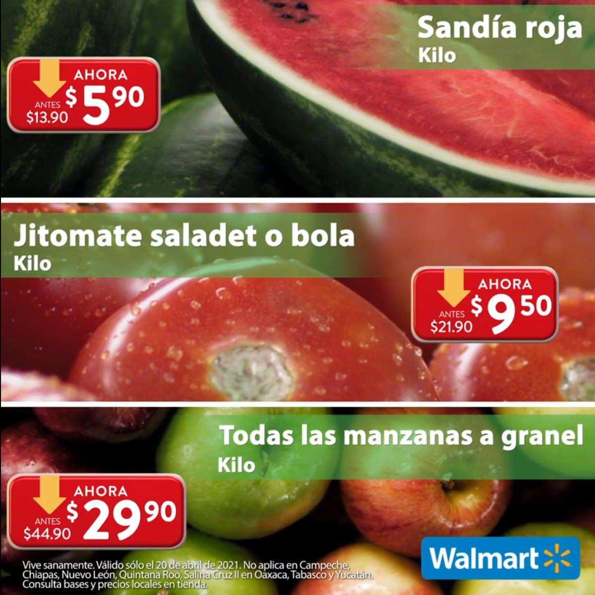 Walmart: Martes de Frescura 20 Abril: Sandía $5.90 kg... Jitomate Saladet ó Bola $9.50 kg... Todas las Manzanas $29.90 kg.