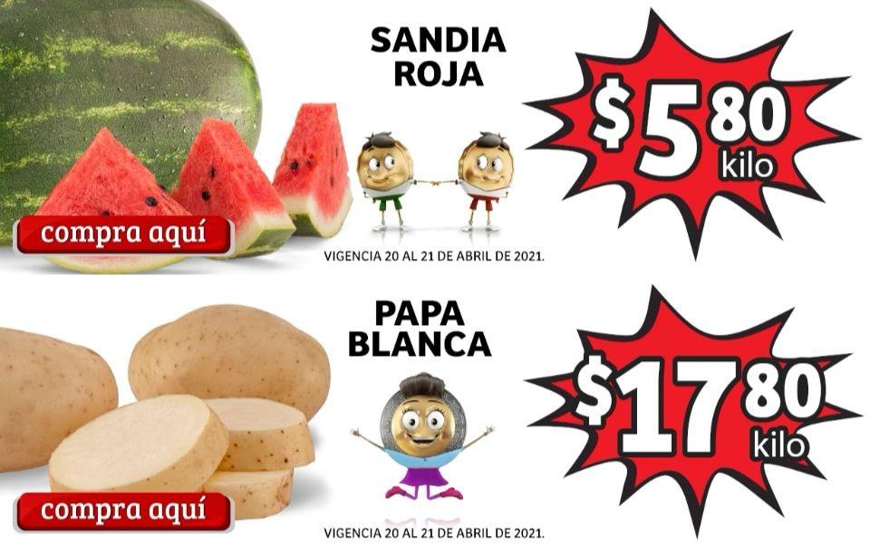 Soriana Mercado y Express: Frescura de Mercado 20 y 21 Abril: Sandía $5.80 kg... Papa $17.80 kg.