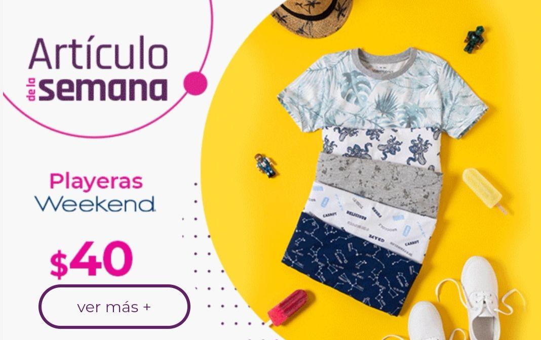 Suburbia: Artículo de la Semana del Lunes 19 al Domingo 25 de Abril: Playera Weekend para niño o niña $40