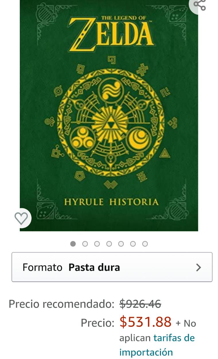 Amazon: The legend of Zelda, Hyrule Historia, pasta dura edición en inglés.