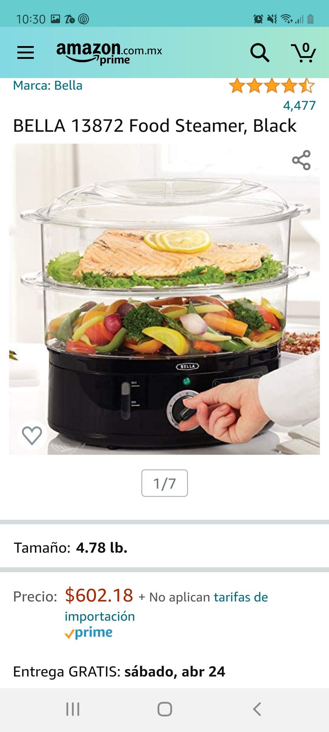 Amazon BELLA Vaporera Eléctrica / Food Steamer