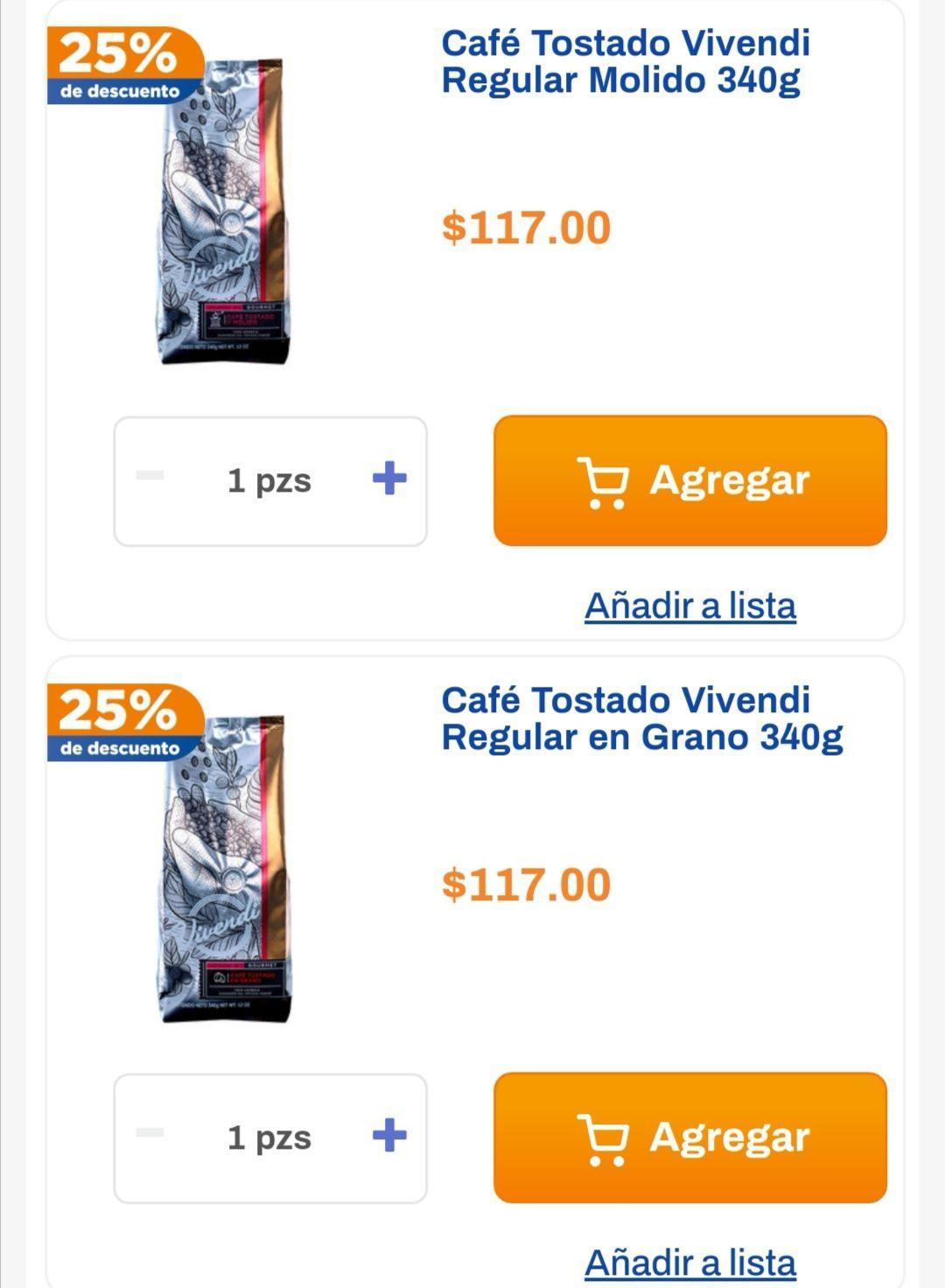 Chedraui: 25% de descuento en café Vivendi regular molido y grano 340 g.