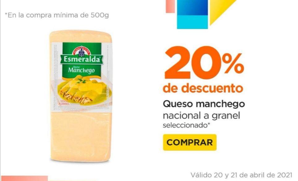 Chedraui: 20% de descuento en quesos manchego nacional a granel (compra mínima 500 g)