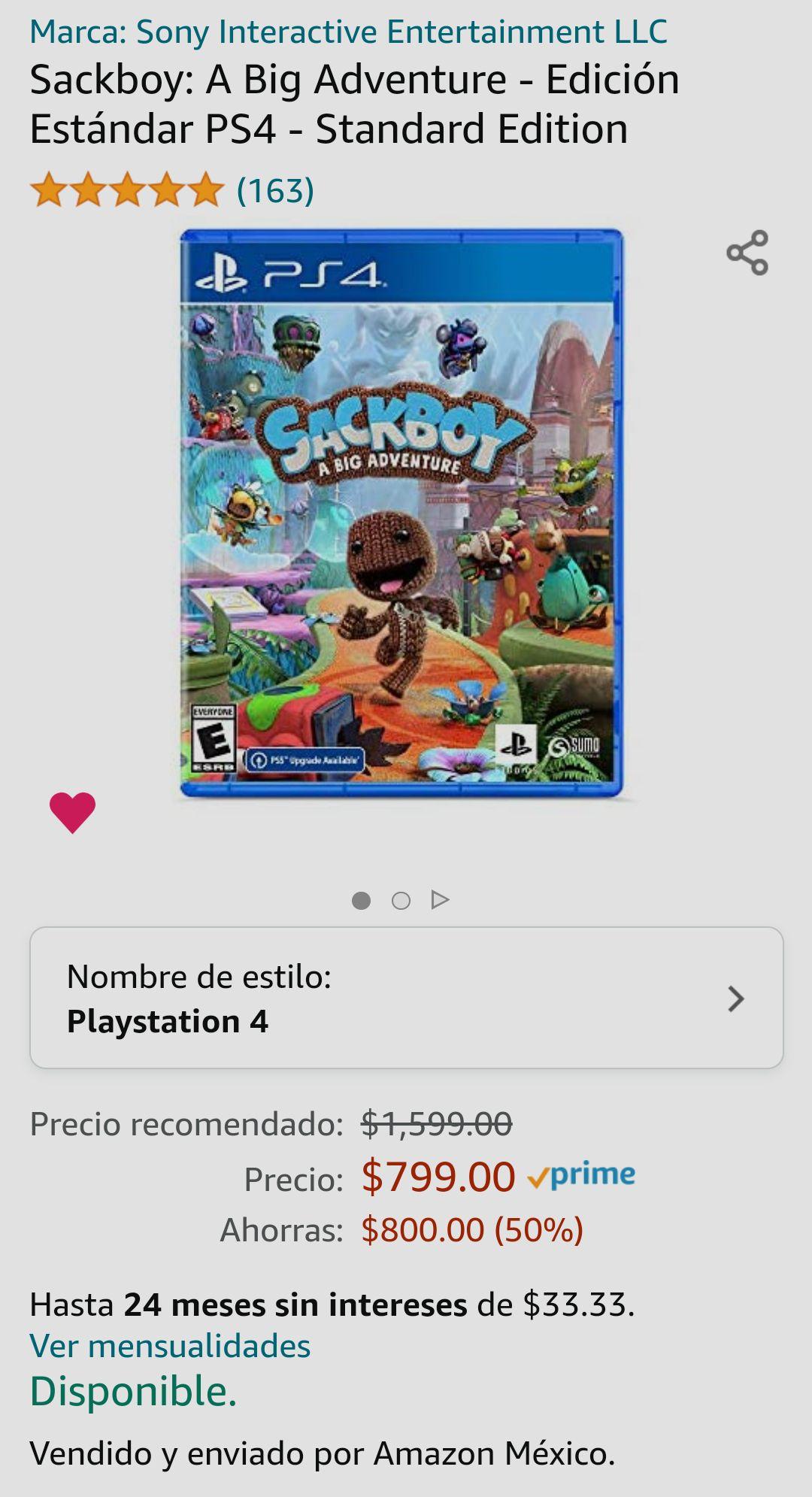 Amazon MX - Sackboy: A Big Adventure PS4