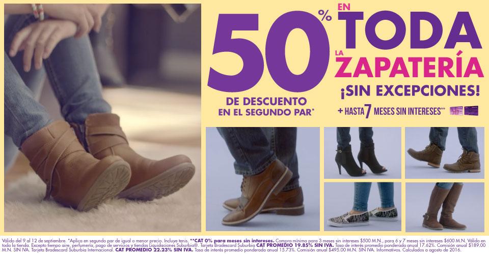 Suburbia: Zapatería 50% de descuento en segundo par ¡Sin Excepciones! + hasta 7 MSI