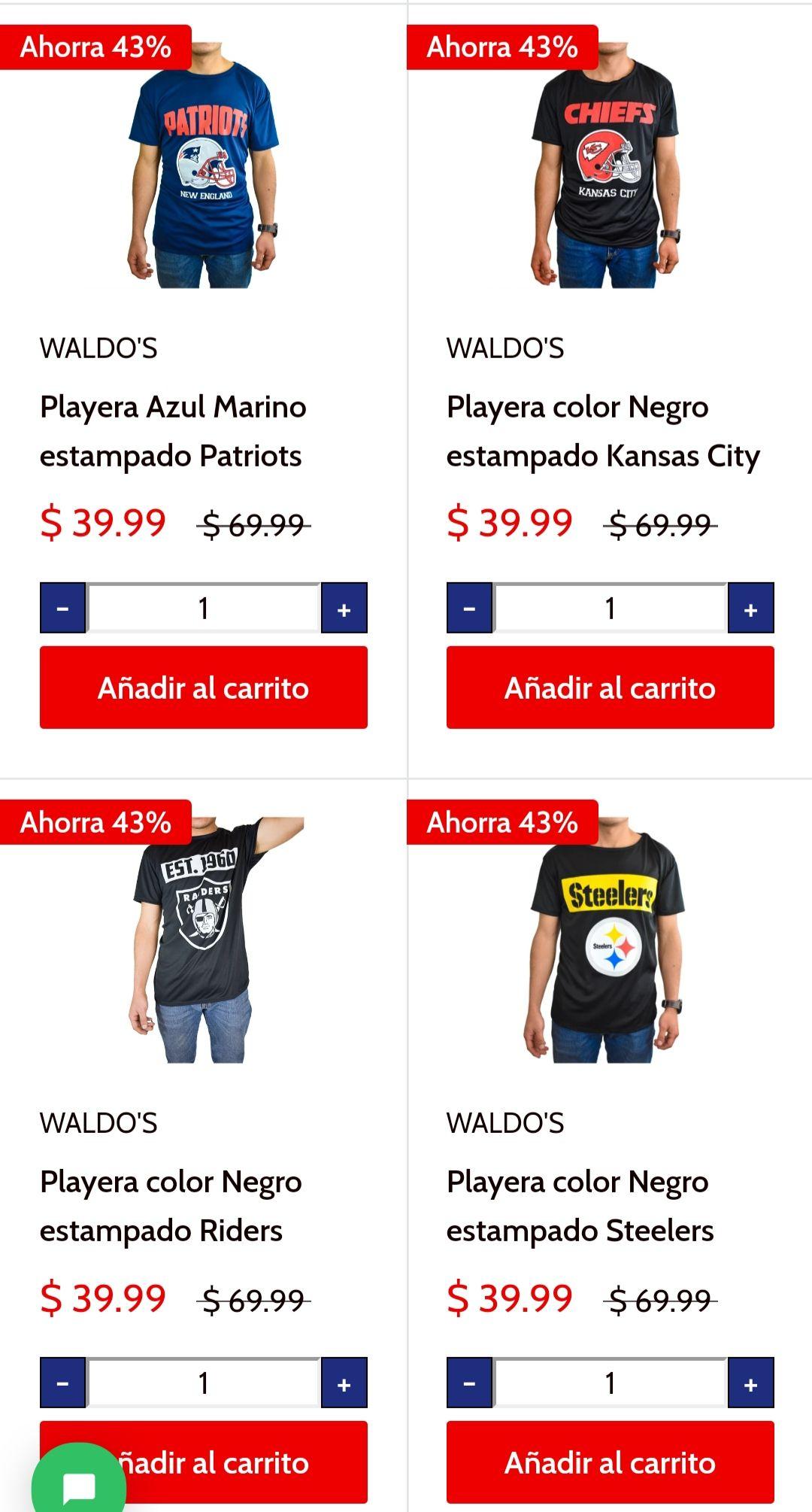 Waldos: Playera patriots y otros + 20% con cupón