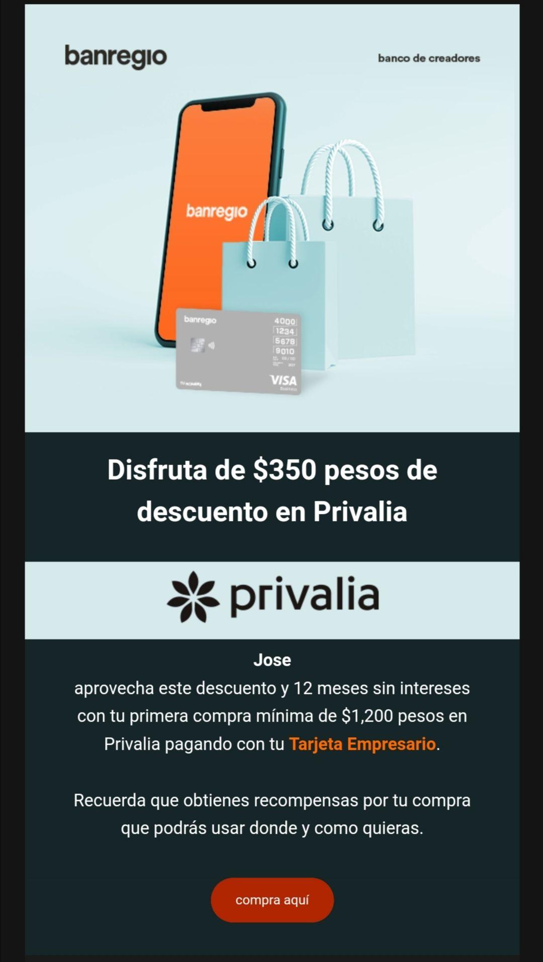 Privalia: 350 pesos gratis en Privalia con tarjeta empresario banregio