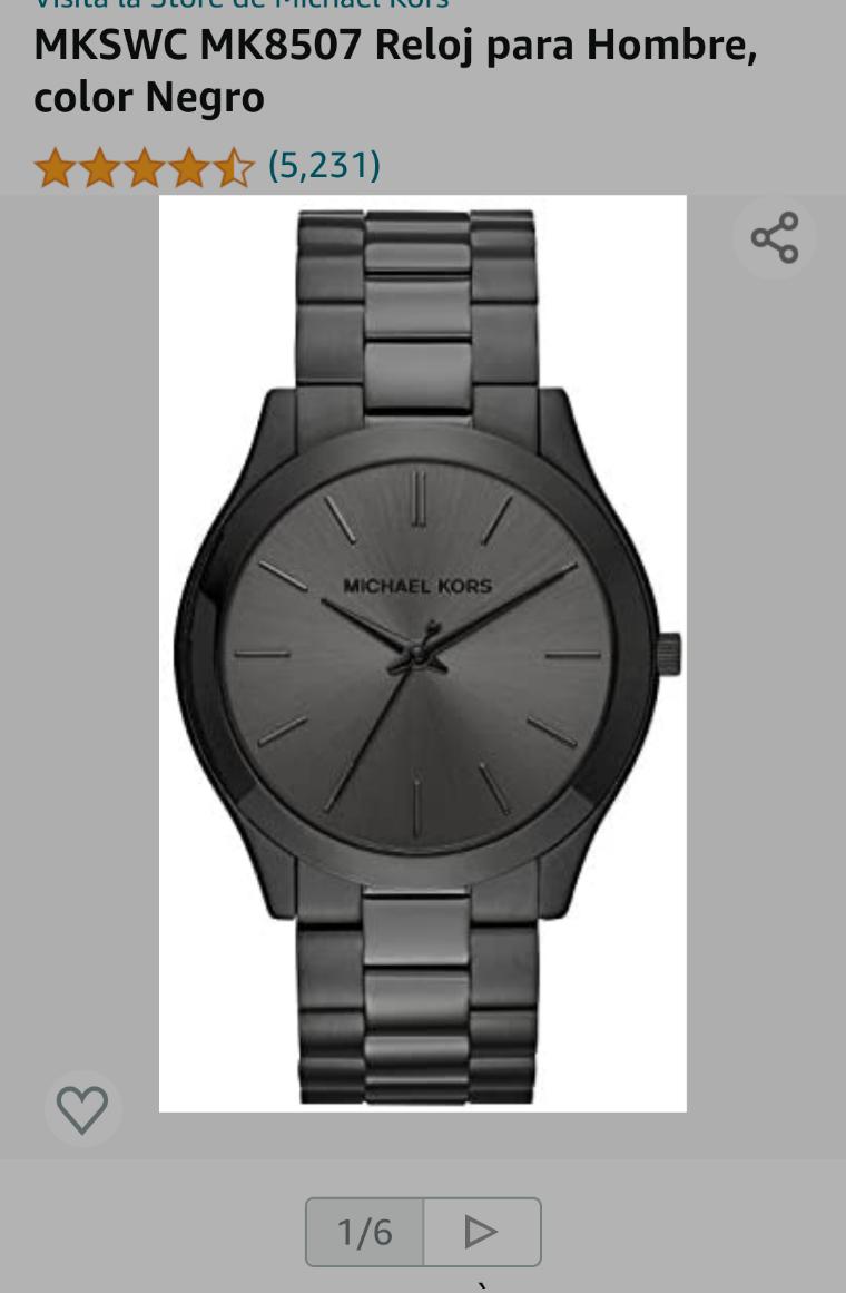 Amazon: Reloj para hombre Negro Michael Kors