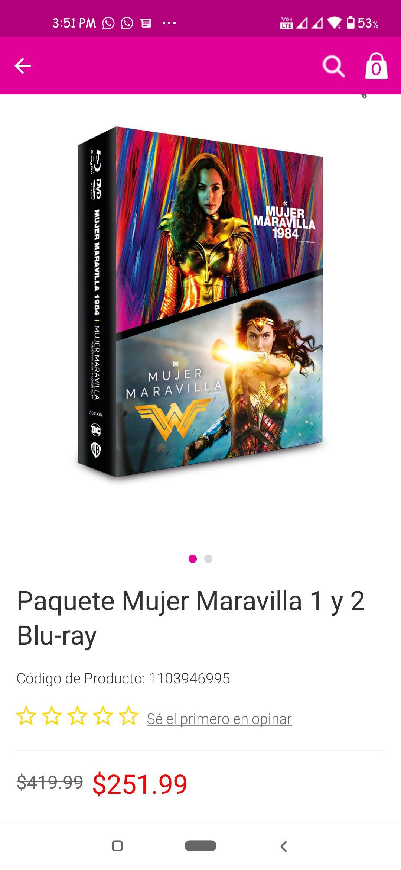 LIVERPOOL: PACK BLURAY Y DVD MUJER MARAVILLA 2017 Y MUJER MARAVILLA 1984.