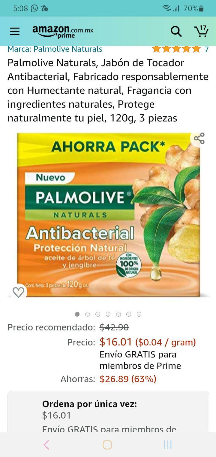 Amazon: palmolive naturals, paquete de 3 jabones a $16