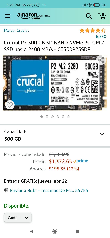 Amazon: Ssd nvme 500 GB crucial