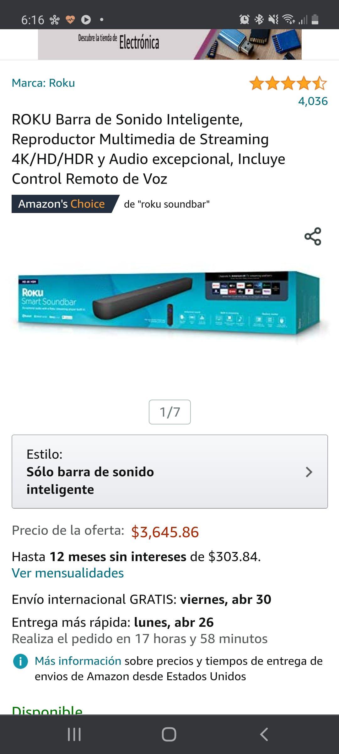 Amazon: Roku Barra de Sonido Inteligente