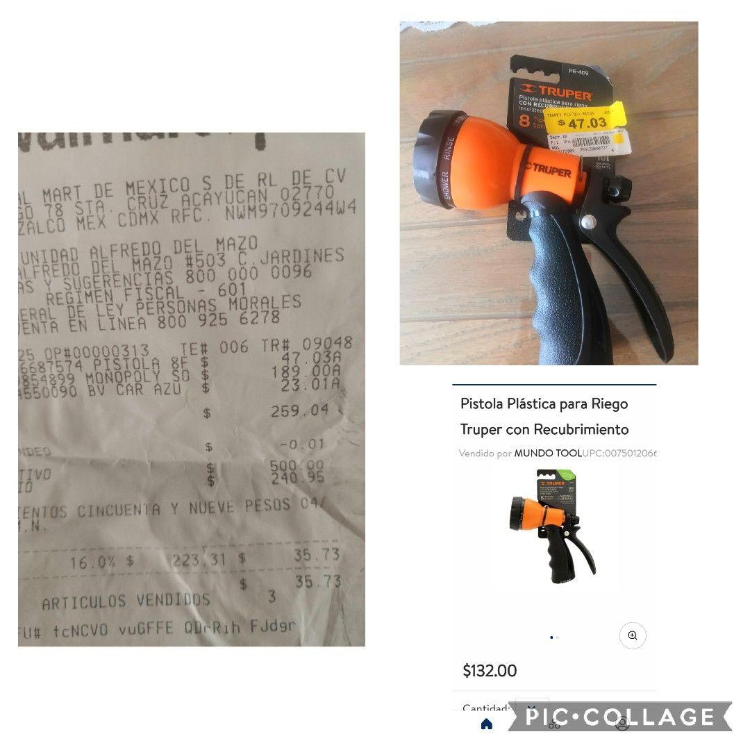Walmart: por Solo $47.03 pistola plástica para riego truper con recubrimiento.