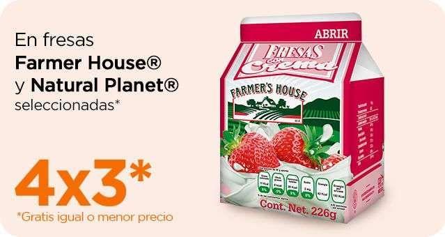 Chedraui: 4 x 3 en fresas congeladas Farmer's House 226 g