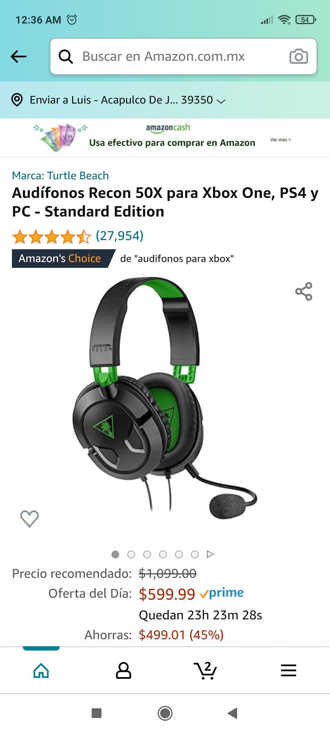 Amazon: Audífonos Recon 50X para Xbox One, PS4 y PC - Standard Edition