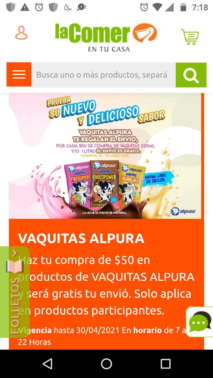Envío gratis La Comer en la compra de $50 vaquitas Alpura