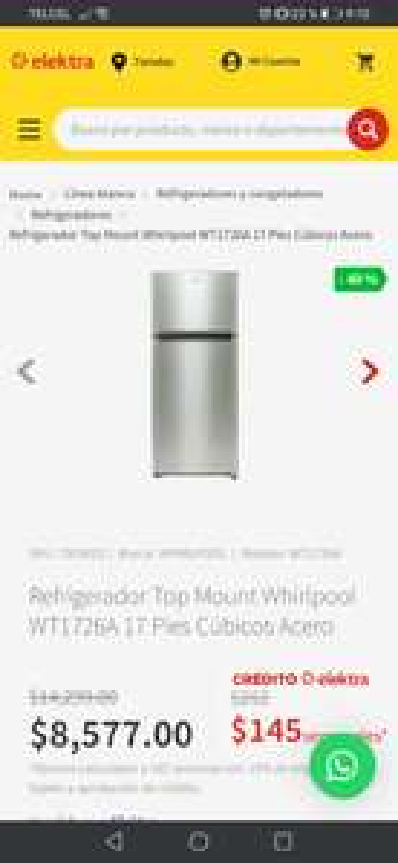 Elektra Refrigerador Top Mount Whirlpool WT1726A 17 Pies Cúbicos Acero