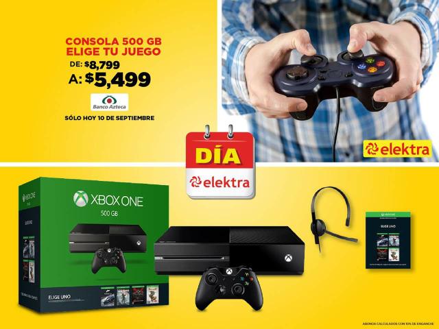 Elektra: Xbox One 500gb Elige tu juego $5499 sólo el día de hoy