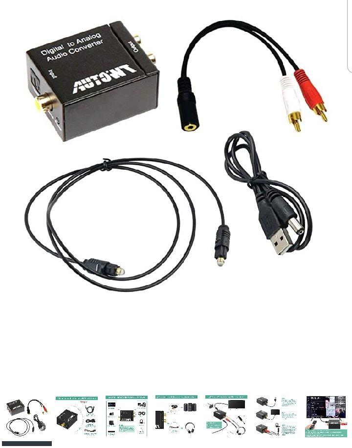 Amazon AUTOWT Adaptador Digital coaxial Toslink con Cable óptico, Cable de Audio de 3,5 mm y Cable de alimentación USB