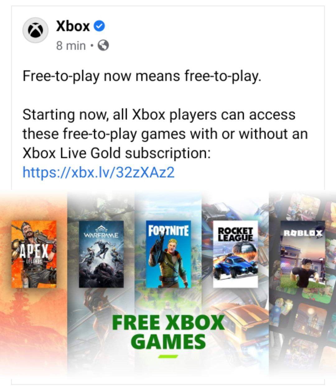 Xbox: Online gratuito para juegos Free to play ya habilitado en xbox.