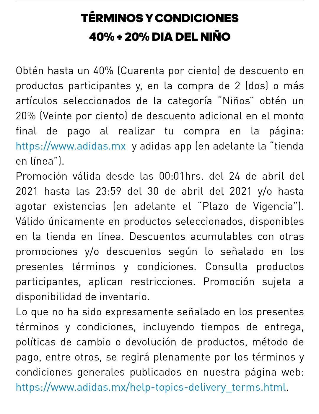 Adidas 40% + 20% de descuento en sección NIÑOS