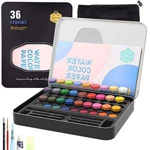 Amazon: Cheelom Pintura de Acuarela, Set de 36 Colores con Caja Metálica