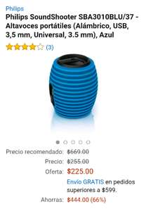 Amazon: Philips SoundShooter SBT30/37 2W Bocina portátil azul a $225