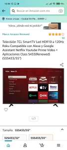 Amazon: Televisión TCL SmartTV 55 Led HDR10 a 120Hz (Renewed)