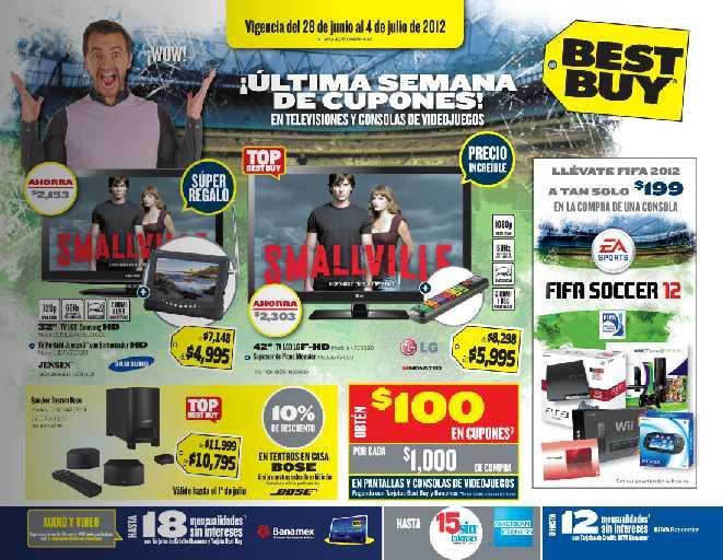 """Folleto Best Buy junio 28: pantalla 42"""" LCD y supresor de picos $5,995, 20% de descuento en cámaras acuáticas y más"""