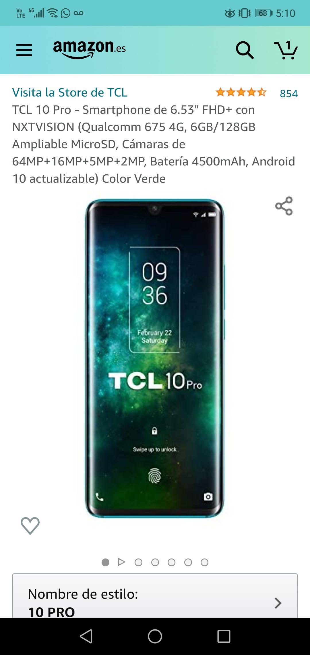 Amazon España: TCL 10 PRO 6/128