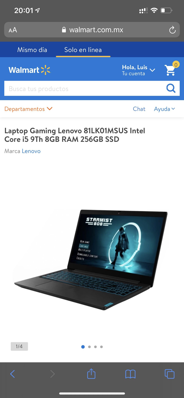 Walmart: Laptop Lenovo Gaming i5 9th GTX 1650 256 SSD pagando con TDC Digital BBVA a 18MSI