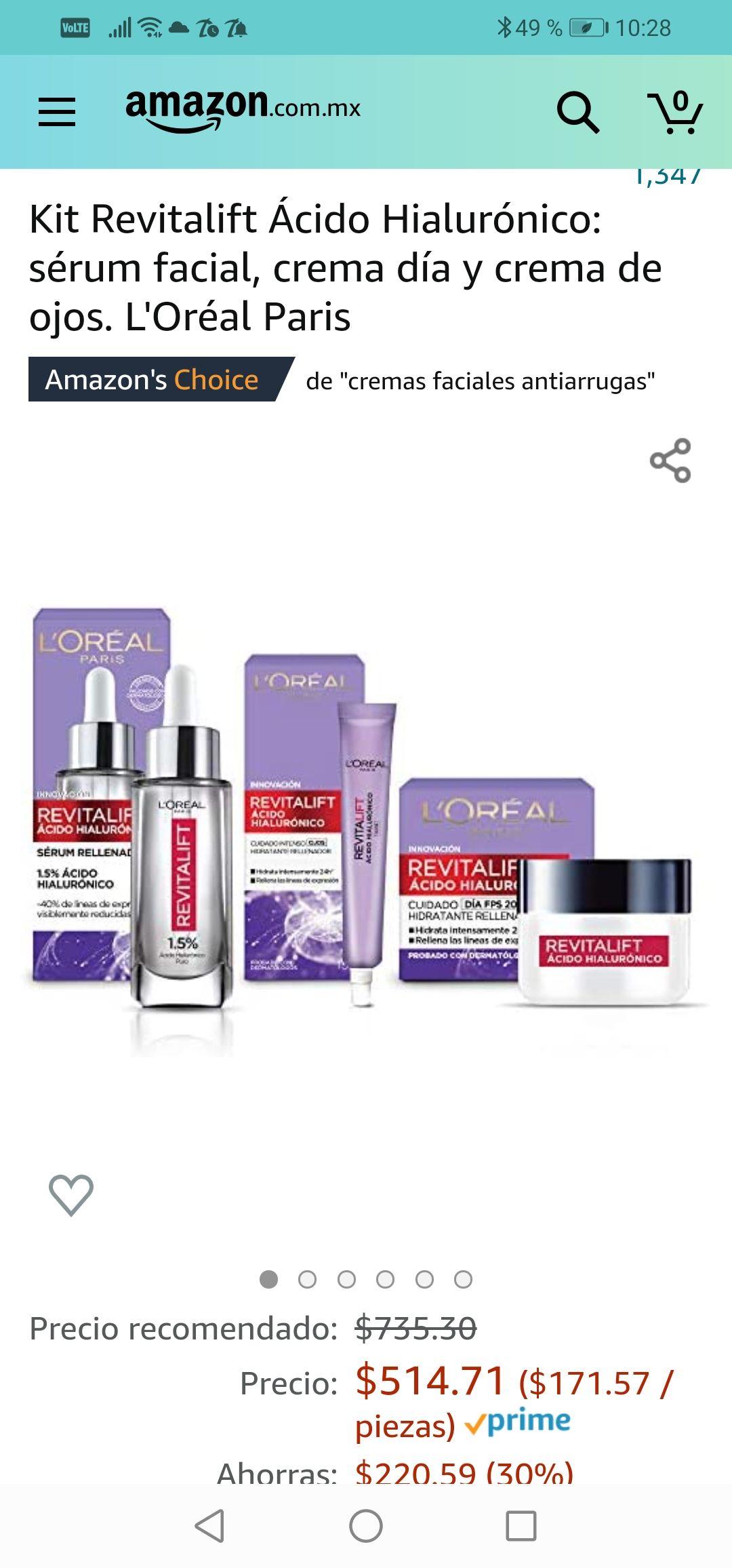 Amazon : Kit Revitalift Ácido Hialurónico: sérum facial, crema día y crema de ojos. L'Oréal Paris