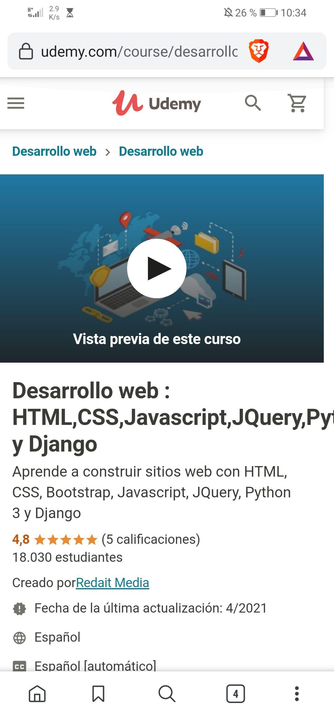 Udemy: Desarrollo web HTML, CSS, JAVASCRIPT, python y django