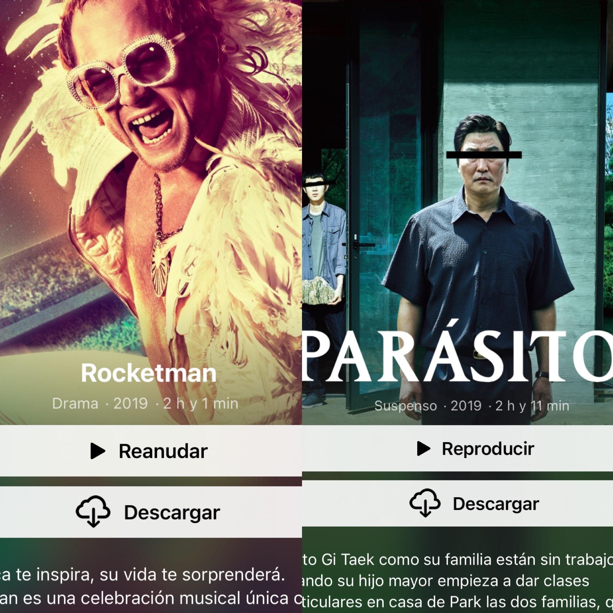 iTunes: Rocketman / Parásitos 4k